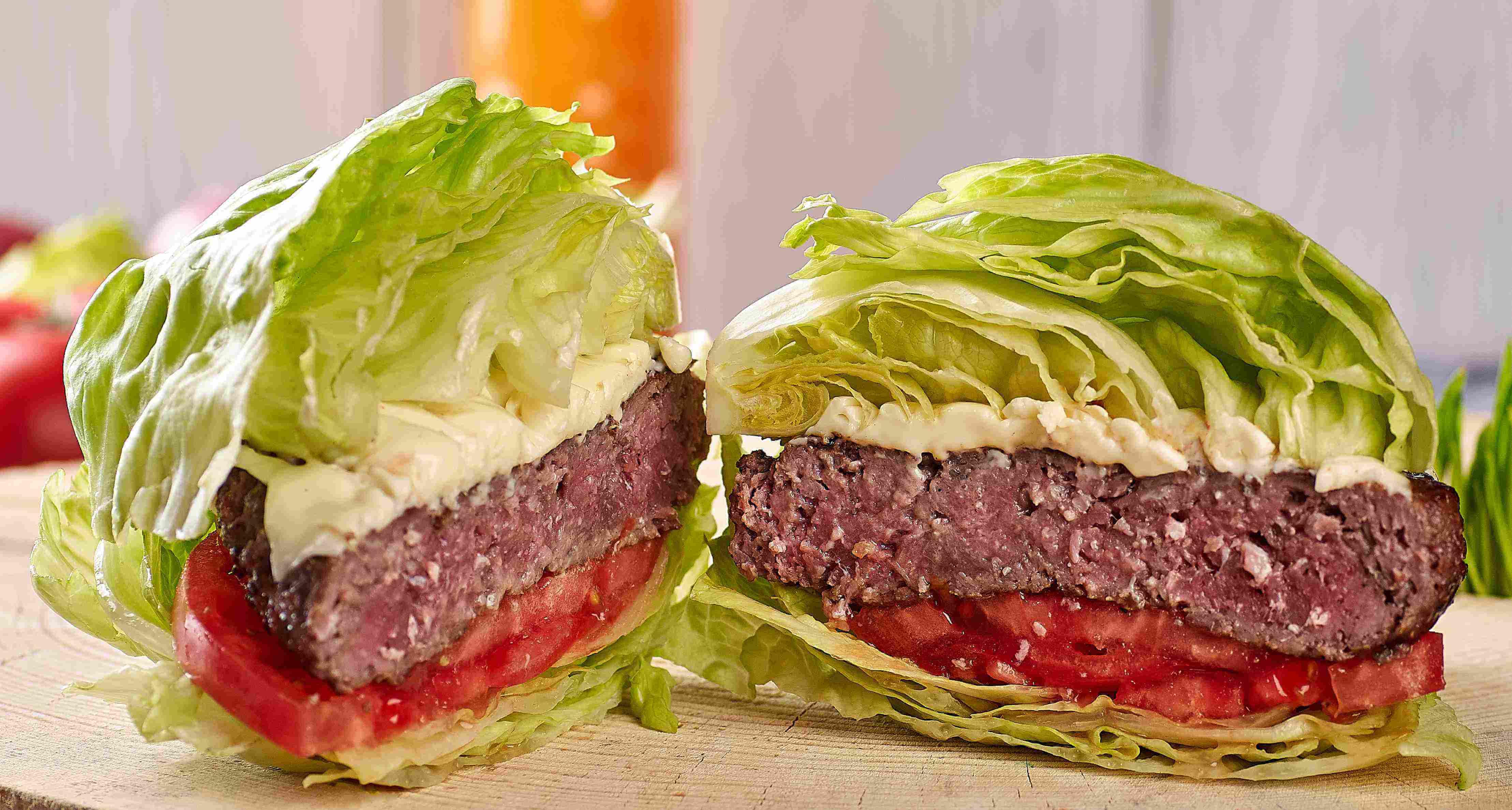 Hamburger with lettuce wrap