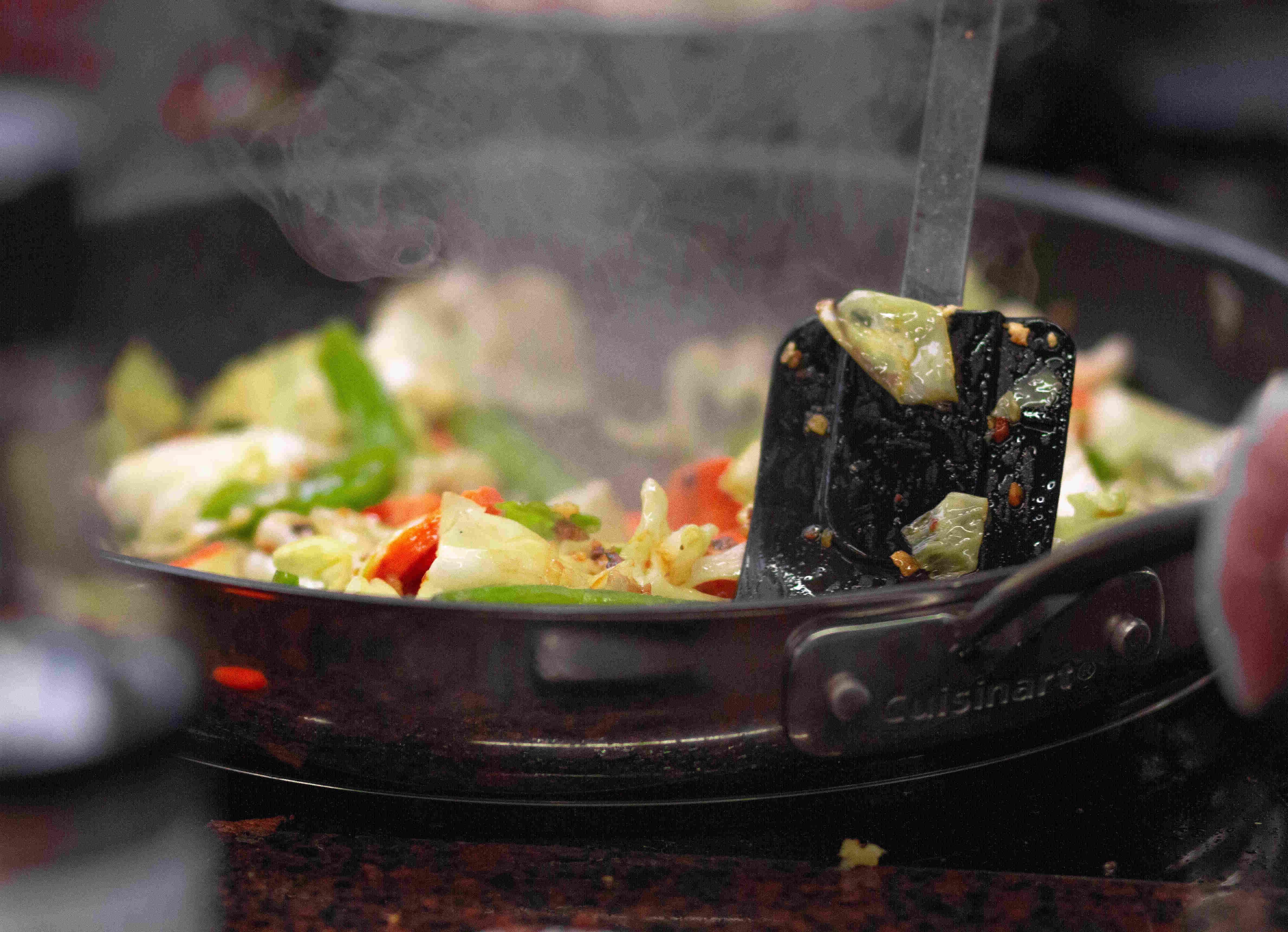 Stir fry in a large pan